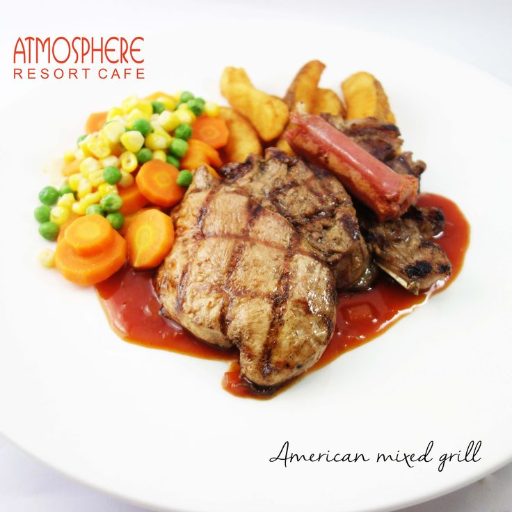 Grilled lamb chop, beef tenderloin, chicken breast, beef sausages, potato wedges,  vichy carrot & green peas in BBQ sc