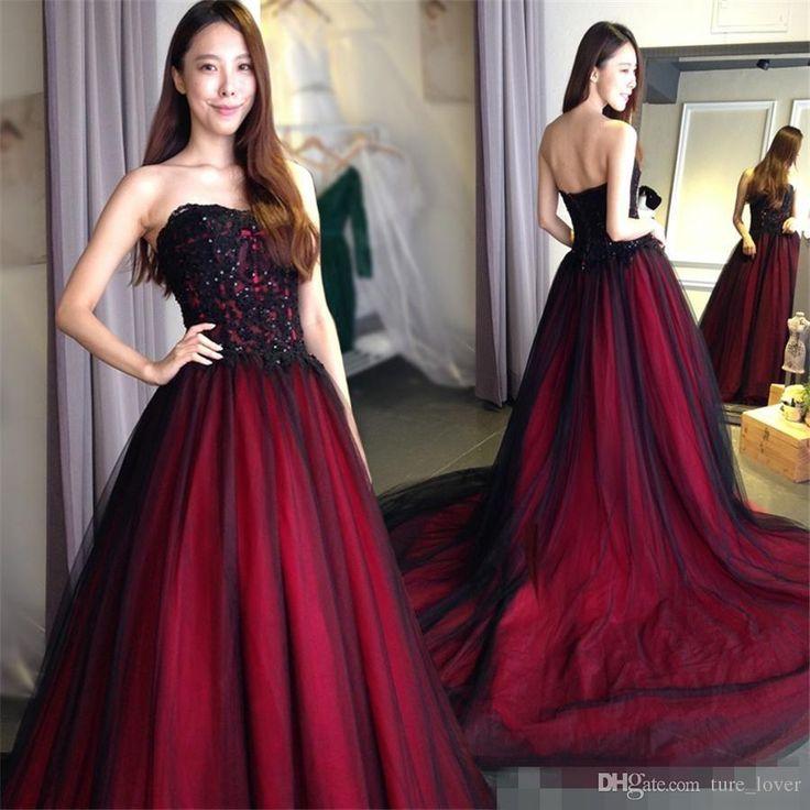 Gótico A-Line Vestidos de casamento Querida Lace Up Back Floor Length Long Black Borgonha robe de soirée vestido longo de festa Vestidos de noiva   – Wedding Vow Renewal