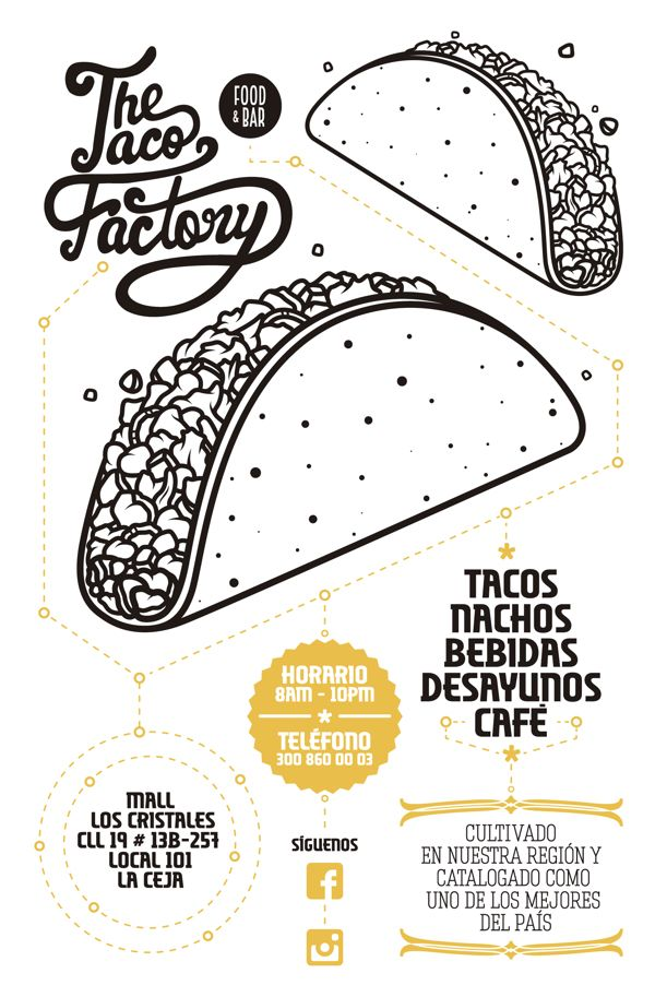 The Taco Factory Flyers by Pablo Ramos, via Behance