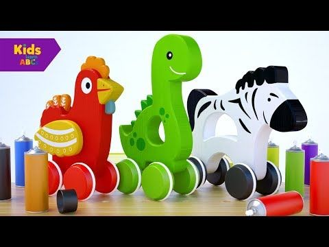 Learn Colors for Children with Baby Fun Play Cartoon Animals Spray Paint | Kidz Learn ABCs