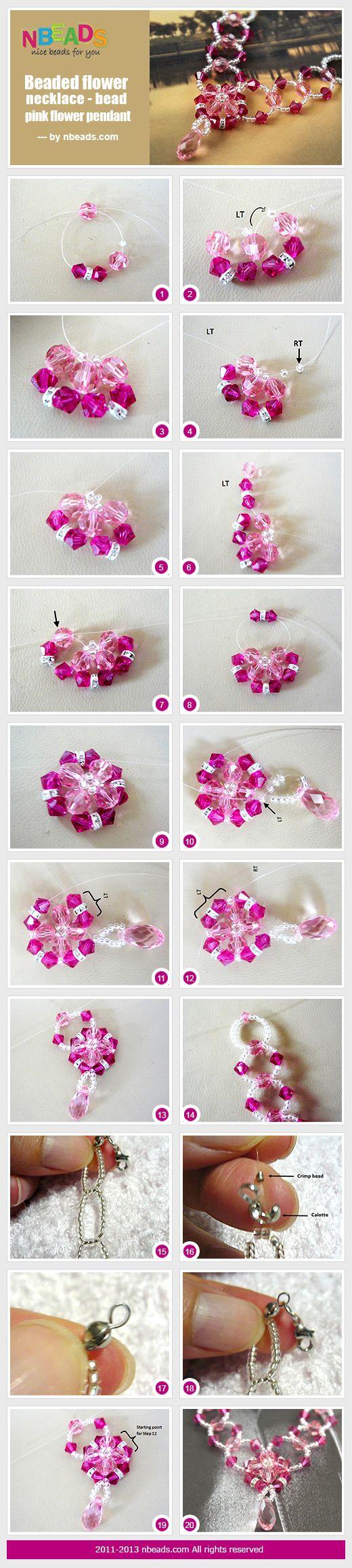 beaded flower necklace - bead pink flower pendant