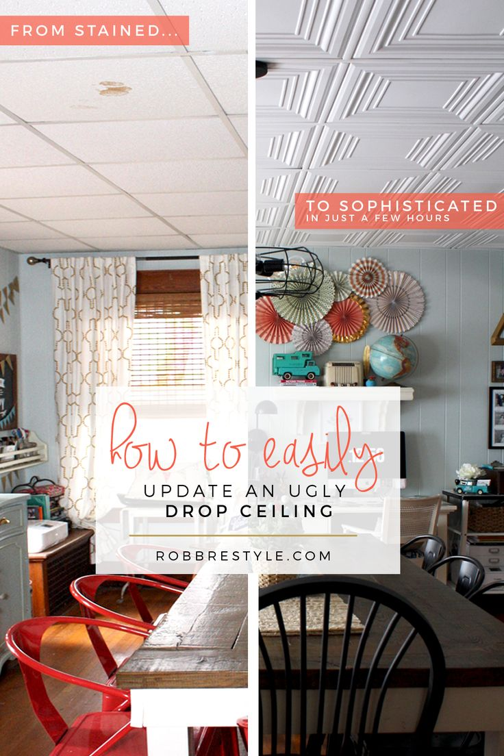 How to easily update your ugly tile ceiling grid - from stained to sophisticated in no time!