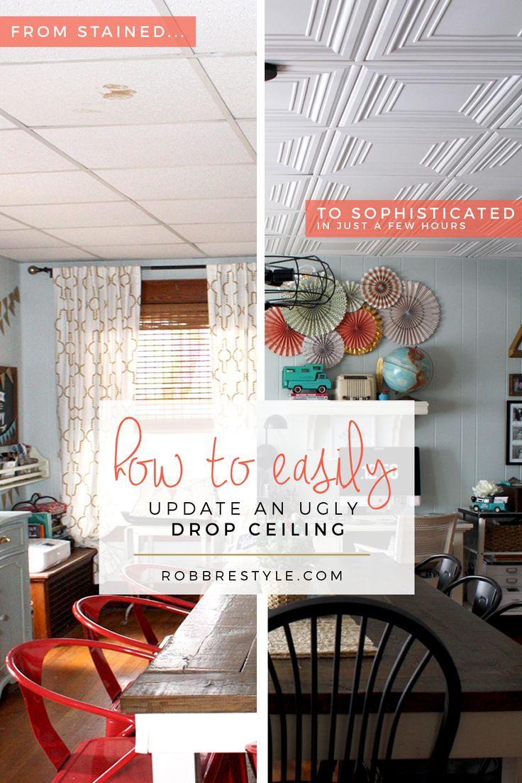 Best  Drop Ceiling Tiles Ideas On Pinterest Updating Drop - Diy basement ceiling ideas