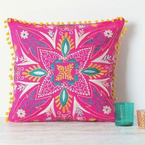 Handmade Embroidered Pink Cushion – wanderlust bedroom – Room inspiration