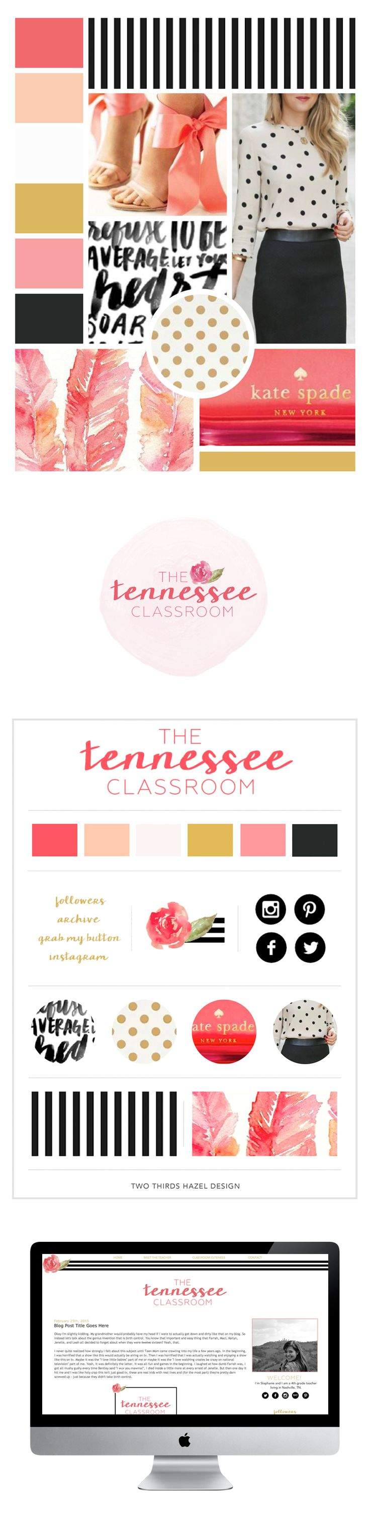 Blog design inspiration. Girly blog designs. Coral and gold. Website design. Brand board. Two Thirds Hazel Design.
