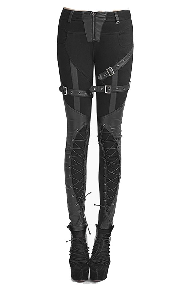 Another lovely pair of Gothic trousers from Punk Rave! These awesome heavy cotton trousers sit low on the waist feature a series of faux leather buckles on the thighs, and corset style lacing on the shins create a great bondage style effect.