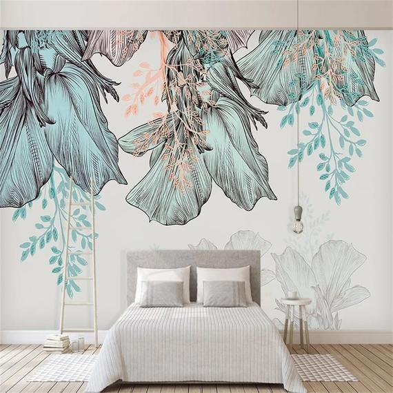 Custom Photo Wallpaper 3d Tropical Plant Leaves Murals Living Etsy Cheap Wall Murals Wall Murals Wall Wallpaper