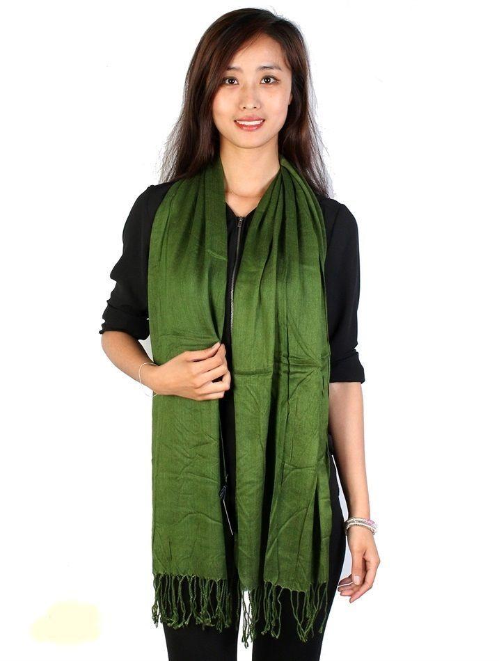 "Green Yellow Pashmina Silk Blend Fashion Scarf Wrap 72"" X 40"" NEW NWT #NorthSouthFashions #Pashmina"