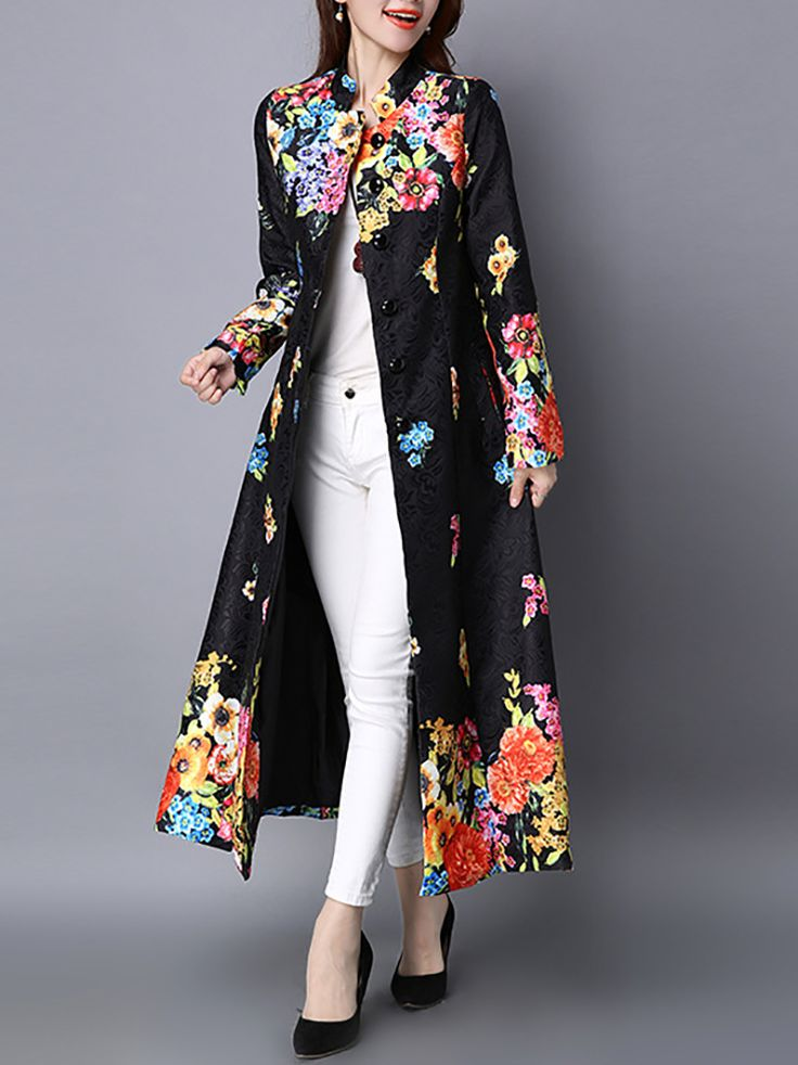 Vintage Printed Stand Collar Long Thin Coat - Newchic Plus Size Outerwear Mobile