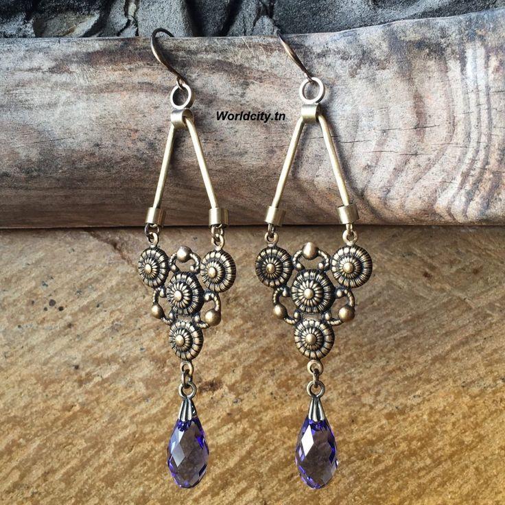 Boucles d'oreille cristaux Swarovski violet pastel, chandeliers Bohémiens losange, bronze antique