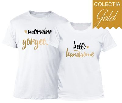 Set tricouri cuplu Morning Love - Gold