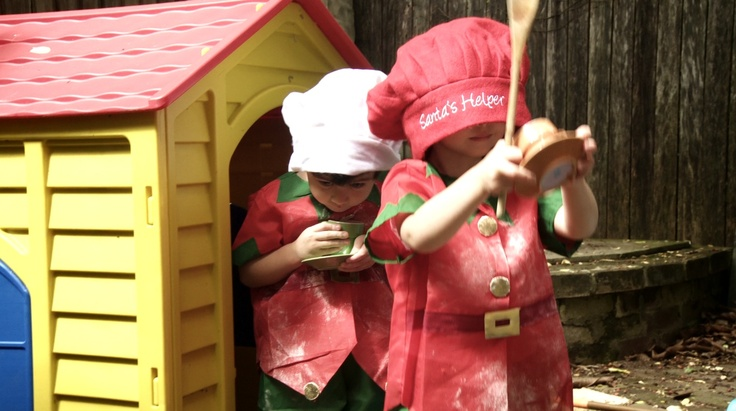 Christmas soux chefs at work in the cubby house  http://www.thefilmbakery.com/blog/12-tastes-of-christmas-down-under