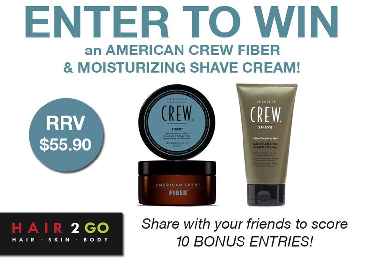"""WIN an AMERICAN CREW Fiber 85g & Moisturizing Shave Cream 150ml valued at $55.90!  Don't forget to click on the """"Share with Friends"""" tab once you've entered to score up to 10 BONUS ENTRIES!  Enter now: http://gvwy.io/6x58t3"""