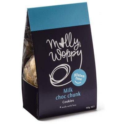 Molly Woppy Gluten Free Milk Choc Chunk Cookies. Incredible flavours mixed with just the right amount of decadence and fun, Molly Woppy 160gm Gluten Free Cookies with real chunks of milk chocolate are the perfect bite to enjoy with good company and a hot cuppa. Made in New Zealand with the most scrumptious ingredients for your enjoyment    See more at www.entirelynz.co.nz/food