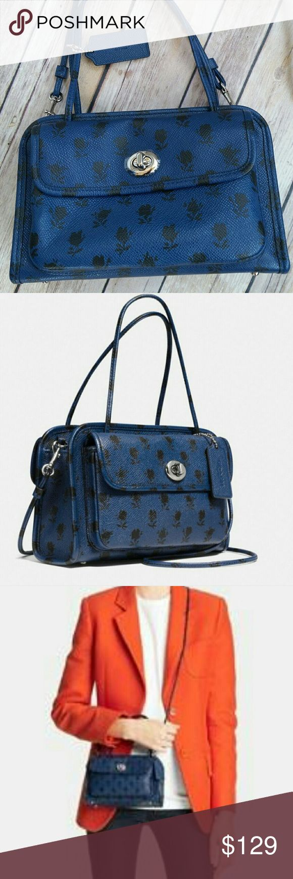 """Coach Cady Crossbody Purse Coach Cady Crossbody Purse in Black and Blue Floral. New without tags. Still has protective film on outer buckle closure hardware as shown.  Detachable crossbody strap. Small and adorable!  Measures approximately 8"""" by 5""""  Slight scuff mark on bottom as shown in last picture. Coach Bags Crossbody Bags"""