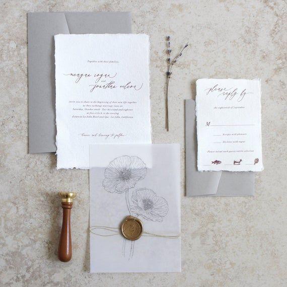Handmade Paper Wedding Invitation Poppy Invitation Torn Edge Etsy In 2020 Wedding Paper Handmade Wedding Invitations Poppies Wedding Invitations