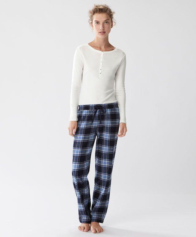 Oysho - Pantaloni a quadri blu