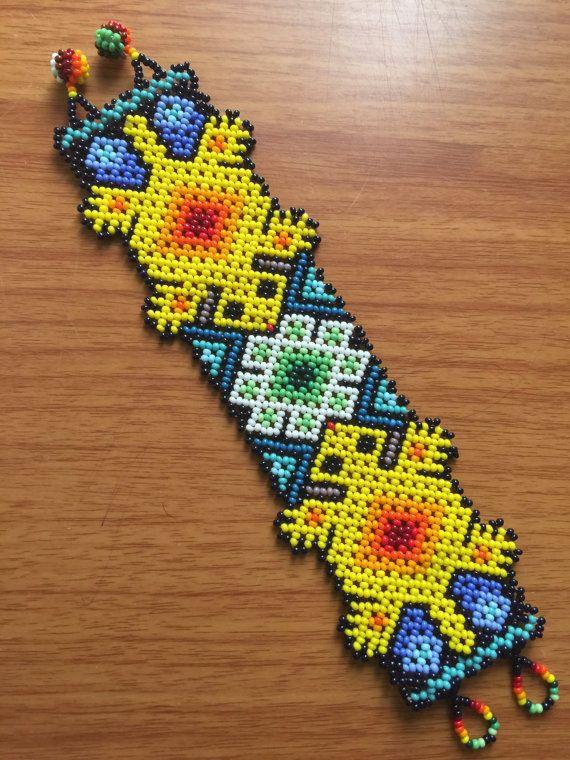 """Huichol beaded bracelet 6.5"""" (16 cm ) long."""