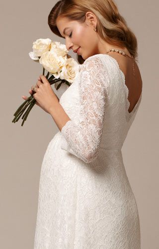 Chloe Lace Maternity Gown Ivory - Maternity Wedding Dresses, Evening Wear and Party Clothes by Tiffany Rose.