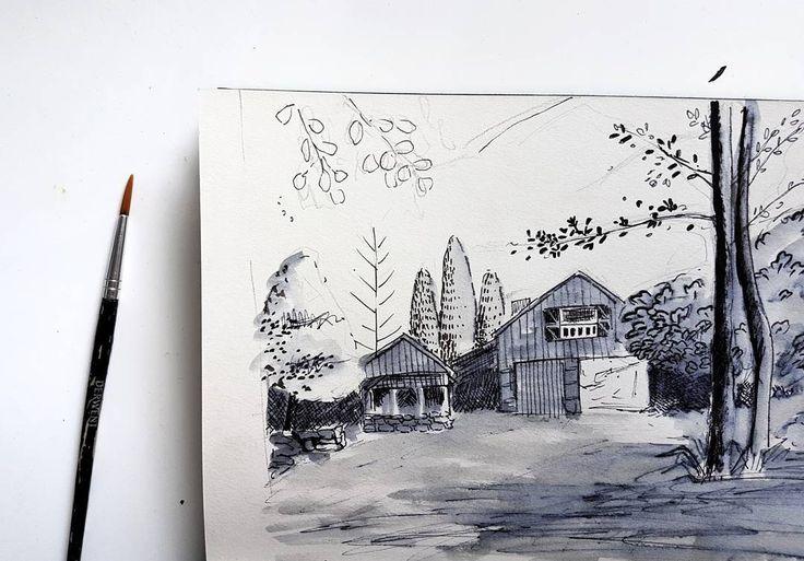 From where I'd like to be today... . . . #sketch #ink #blackandwhite #trees #forest #home #futurehouse #illustration #illustrationartists #painting #designer #melbourneartist #creative #freelancedesigner #texture #flatlay #leafy #foliage #fromwhereyoudratherbe #livethelittlethings #lovelysquares