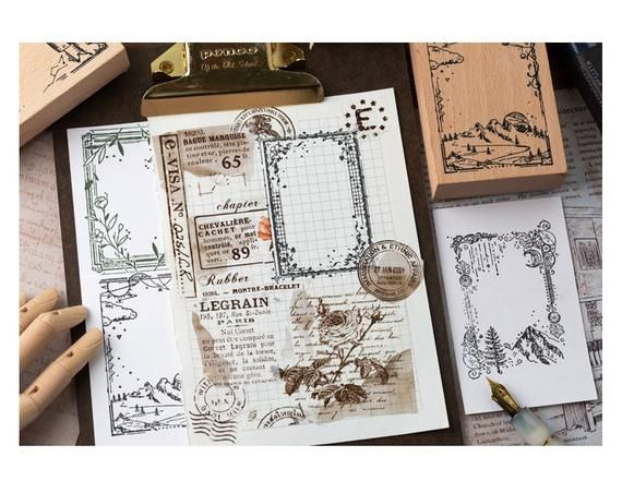 Natural Forest Mountain Leaf Border Wooden Rubber Stamps Etsy In 2020 Vintage Journal Art Journal Journal Stickers