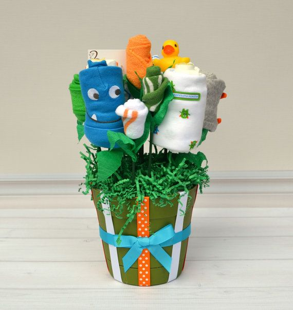 28 best baby gifts for boys images on pinterest baby bouquet monster baby gift boy baby gift flower bouquet by babyblossomco negle Gallery