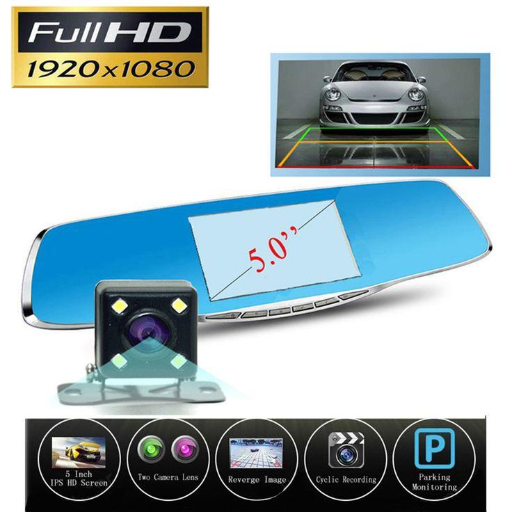 新しい5インチ車dvrカメラバックミラーデジタルビデオレコーダー付きデュアルレンズレジストラビデオカメラフルhd 1080 pナイトビジョン