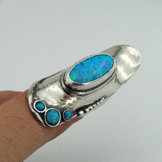 Impresionante anillo de ópalo de plata 925 piedra azul largo