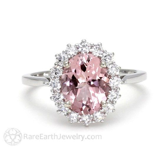 VINTAGE ESTATE BLUSH PINK TOURMALINE DIAMOND ENGAGEMENT RING IN 14K WHITE GOLD