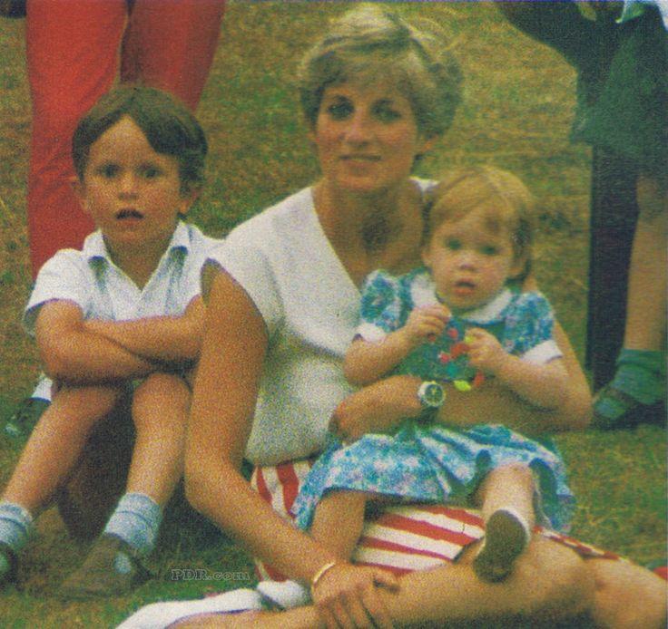 Princess Diana and Princess Beatrice at Prince Harry's 7th birthday in Kensington Palace