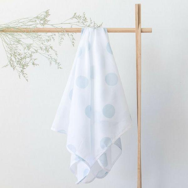 Organic Muslin Baby Wrap | 'Blue Spot'  #swaddle #muslin #muslinwrap #babystyle #nursery #ink #polkadot #organic #organiccotton #duckeggblue #babystyle #babyfashion