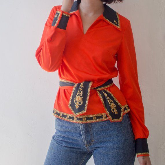 70s Pointed Collar Blouse Tunic with Tie Belt, Red ...