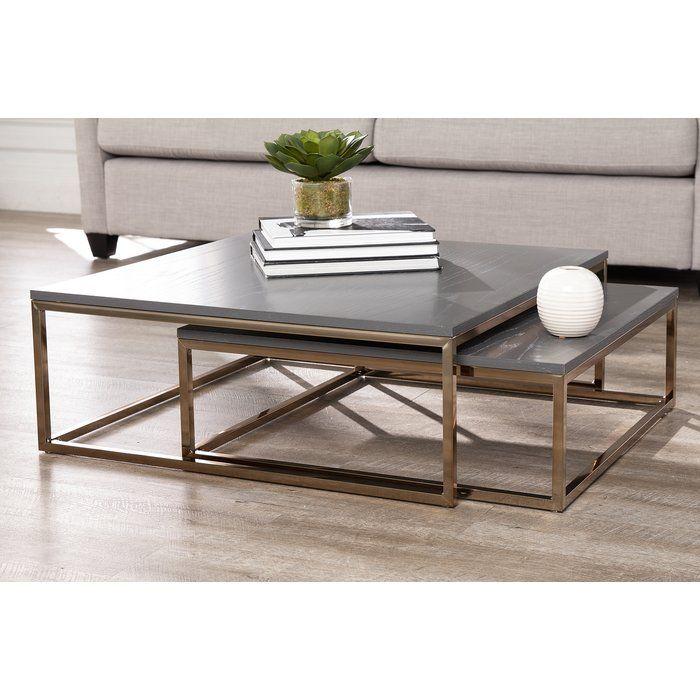 Wrought Studio Juri 2 Piece Coffee Table Set Reviews Wayfair Nesting Coffee Tables Coffee Table Coffee Table Setting