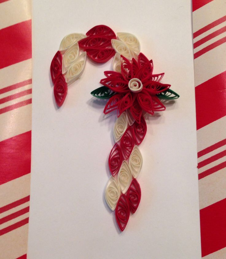 Quilling Candy Cane with Red Poinsettias by Barbara Steele
