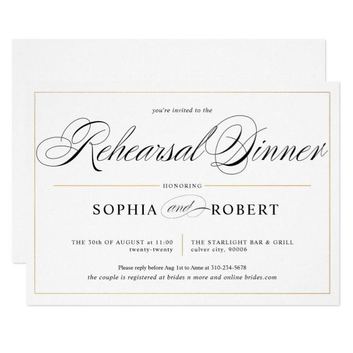 Simple Lines Calligraphy Elegant Rehearsal Dinner Invitation ...