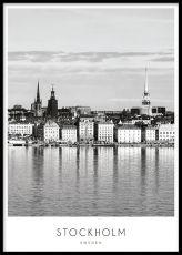 Posters med Stockholm i kollage   Affischer med städer i guldramar