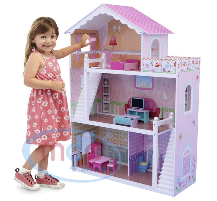 MCC Wooden Kids Doll House With Furniture & Staircase Fits Barbie Dollhouse #MCC