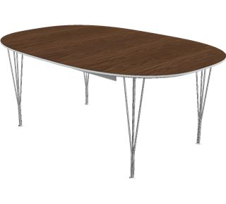 B619 - B619, Super-Elliptical, Extension Table, Span legs, Tabletop: Laminate, Black, Edge: Aluminum