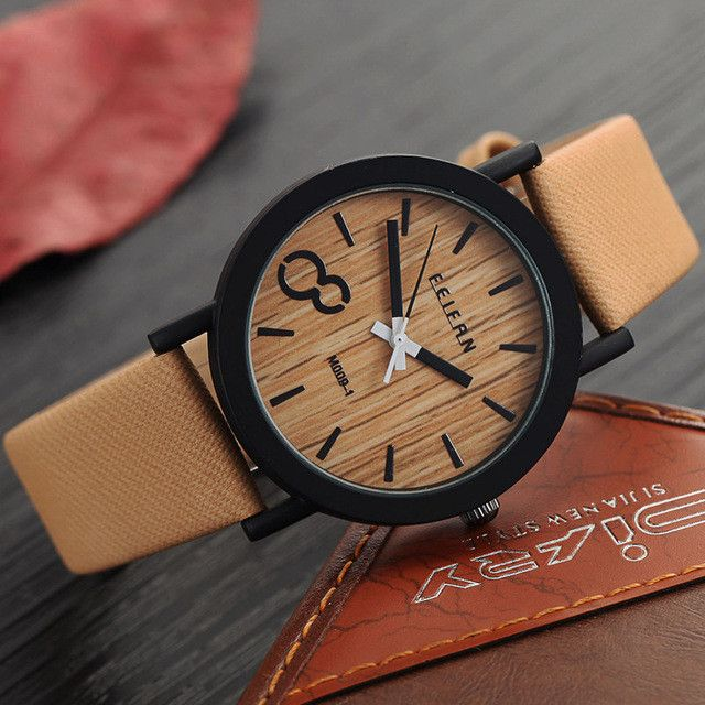 Simulation Wooden Relojes Quartz With Watches Casual Wooden Color Leather Strap