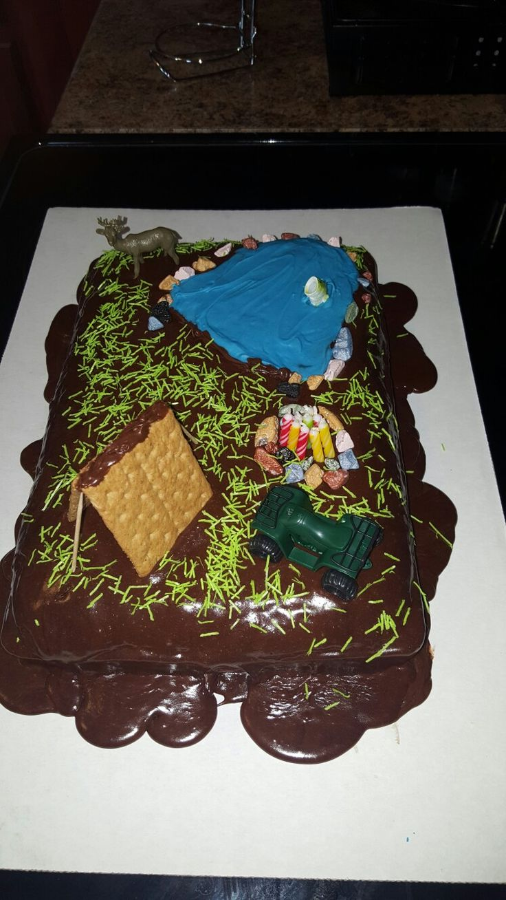Outdoor camping theme cake