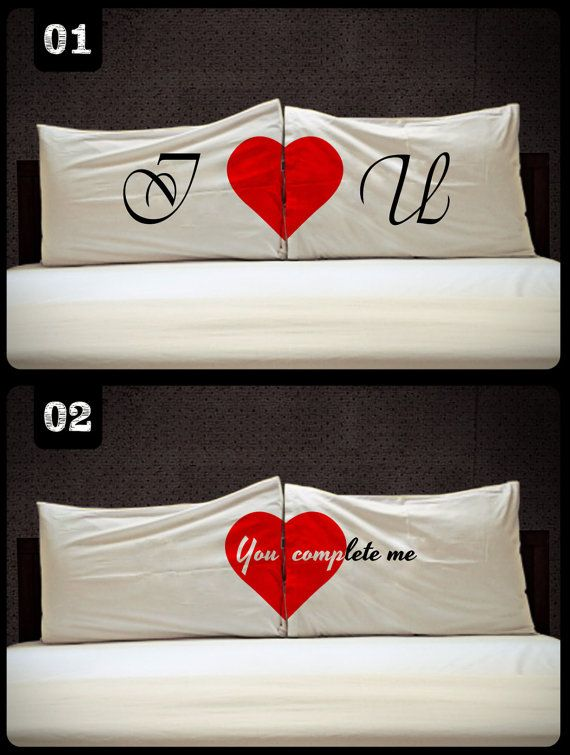 I love U  You Complete Me Love Rectangle Couple Pillow by DUGANTO