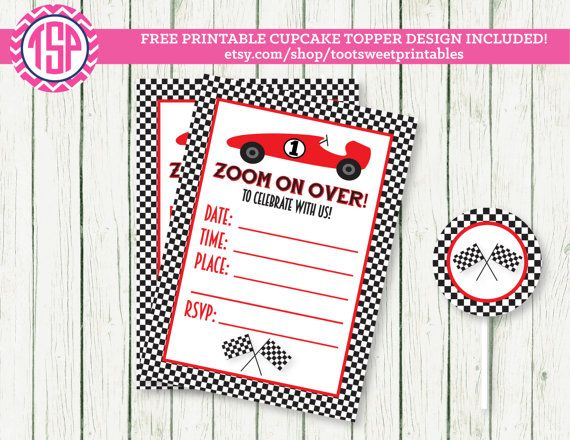 58 best Cars Party Campbell images – Free Printable Race Car Birthday Invitations