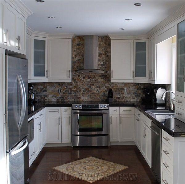 Kitchen Backsplash Black Granite Countertops: Nero Assoluto Countertop, Rust Slate Backsplash, Nero