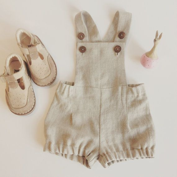 Baby boy romper (sizes 3 months - 4 years)  Gorgeous and cute baby boy overall shorts made from high quality prewashed linen fabric.Very light with