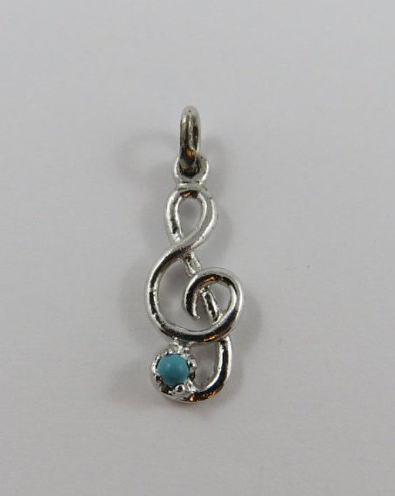 Treble Clef With Turquoise Stone Sterling Silver by SilverHillz