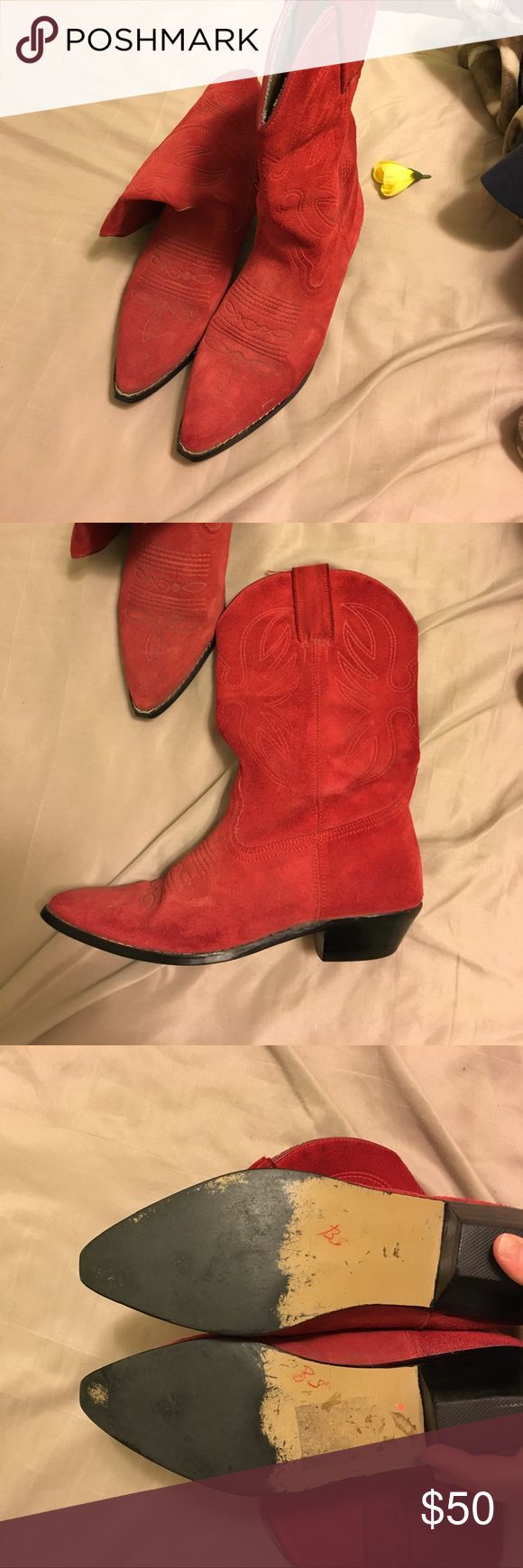 Red Leather Cowboy Boots 8.5 These unique boots have plenty of life left in them and are ready to go dancing! Shoes Heeled Boots