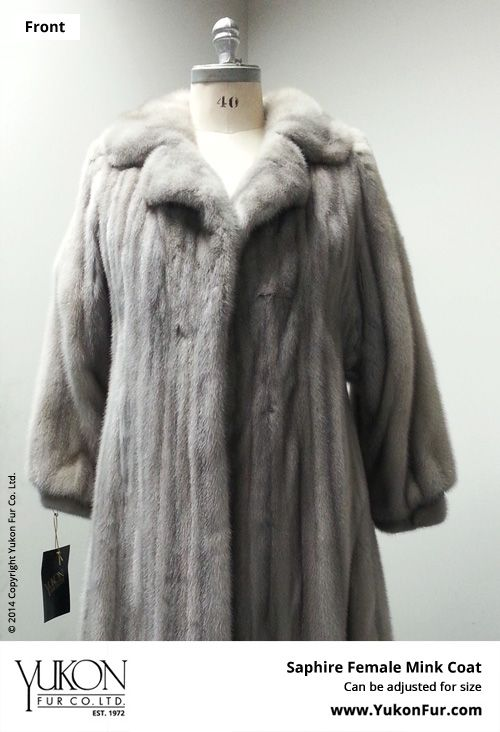 Saphire Female Mink Coat  $15,900.00  Lining: Silk  Can be adjusted for size  http://www.yukonfur.com/wp/product/1492-saphire-female-mink-coat  For details call +01.416.598.3501 or email Chris, chris@yukonfur.com