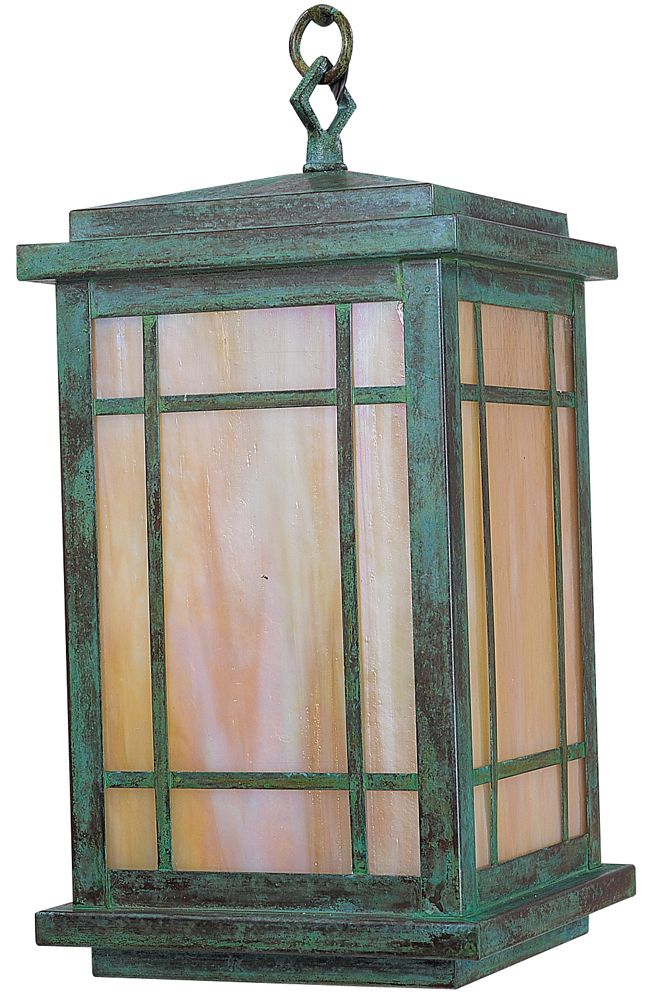 arroyo craftsman avenue outdoor hanging lantern size h x w finish verdigris patina shade type almond mica