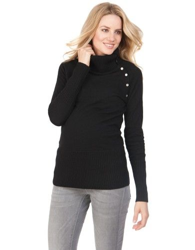 Black Rollneck Wool & Cashmere Maternity Jumper | Seraphine