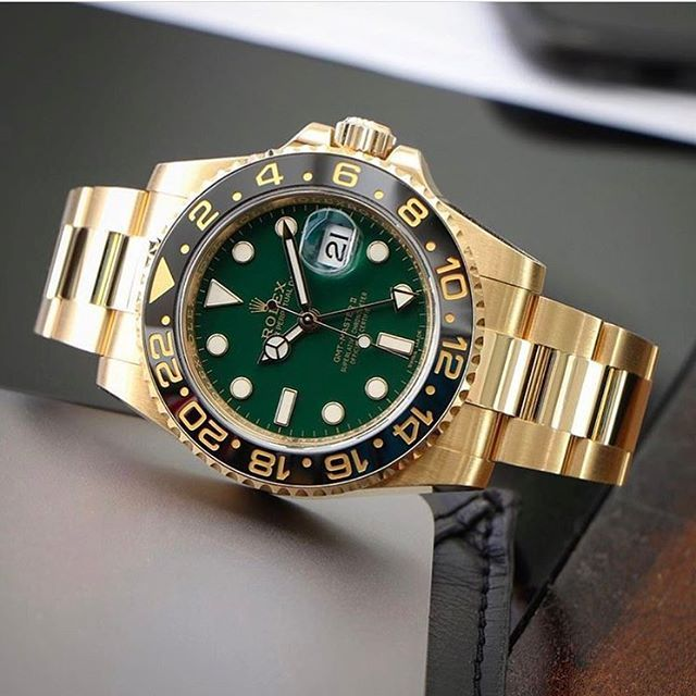 Rolex GMT Master II Gold/Green.
